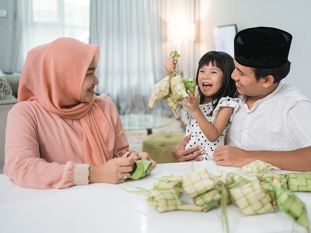 Muslim family getting ready for Raya